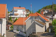 Typical white houses in Kragero Stock Images
