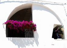 Typical colorful and covered balcony with arch in a hot day in P. Typical white houses  with pink petunias flowers in Polignano a Mare Royalty Free Stock Photography