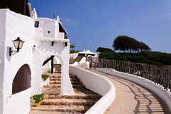 Typical white houses in the village of Binibequer Vell, Menorca, Balearic Islands Royalty Free Stock Photo
