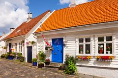 Typical white old wooden homes in Stavanger royalty free stock images