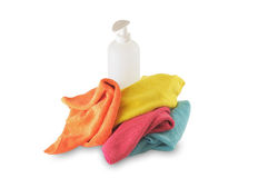 Liquid soap and microfiber napkins Stock Photography