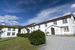 Typical white scandinavian wooden house. Norway Royalty Free Stock Photography