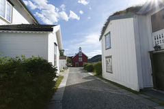 Typical white scandinavian wooden house Stock Images