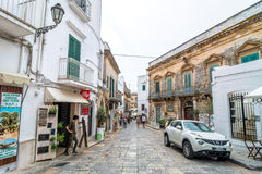 Typical white street in Ostuni, Italy Royalty Free Stock Images