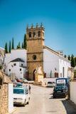 Typical white street in Ronda, Malaga, Spain. Andalusian narrow Stock Photos
