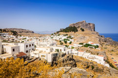 Typical white village architecture in Lindos Royalty Free Stock Photo