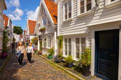 Typical white wooden buildings in Stavanger royalty free stock photography