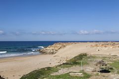 Typical wild beach in Tangier Royalty Free Stock Photography