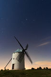 Typical windmill surrounded of stars in Castilla la Mancha, Spai Royalty Free Stock Photo