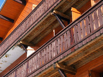 Typical wooden balcony . Royalty Free Stock Image