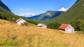 Typical wooden cabins in Norway Royalty Free Stock Image