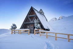 Typical wooden chalet in the Dolomites mountain Royalty Free Stock Photos