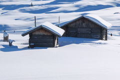 Typical wooden challet in the Dolomites Stock Image