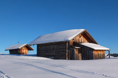 Typical wooden challet in the Dolomites Royalty Free Stock Photos