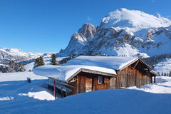 Typical wooden challet in the Dolomites Stock Photography