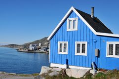 Typical wooden fisher house in Qaqortoq, Greenland Royalty Free Stock Images