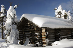 Finnish house at a sunny winter day Stock Image