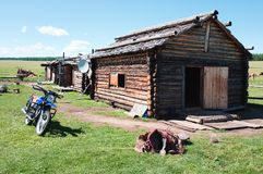 Typical wooden house in northern Mongolia Royalty Free Stock Photo