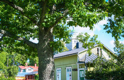 Typical wooden houses of Ekenas. Village in Finland stock images