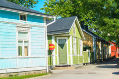 Typical wooden houses of Ekenas. Village in Finland stock photos