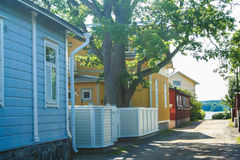 Typical wooden houses of Ekenas. Village in Finland royalty free stock images