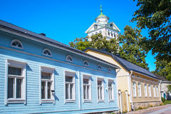 Typical wooden houses of Ekenas. Village in Finland royalty free stock photos