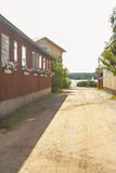 Typical wooden houses of Ekenas. Village in Finland royalty free stock photo