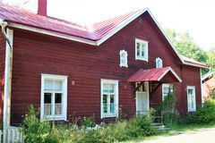 Typical wooden houses of Ekenas. Village in Finland stock photography