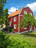 Typical wooden red house. Linkoping. Sweden royalty free stock images