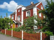 Typical wooden red house. Linkoping. Sweden Stock Photography