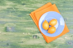 Typical yellow lemon on a green chalkboard with space for text Royalty Free Stock Images
