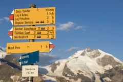 Typical yellow Signpost in the Swiss alps Royalty Free Stock Photography
