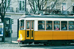Typical yellow tram in Chiado district in Lisbon, Portugal Royalty Free Stock Photography