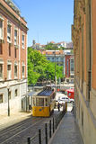 Typical yellow tram in Lisbon. Typical yellow tram on the street in Lisbon, Portugal royalty free stock image