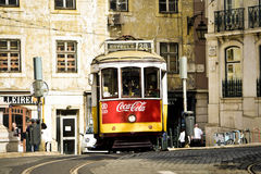 Typical yellow tram , Lisbon, Portugal. Stock Photography