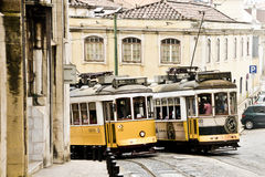 Typical yellow tram , Lisbon, Portugal. Stock Images