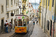 Typical yellow tram , Lisbon, Portugal. Royalty Free Stock Photography