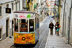 Typical yellow tram , Lisbon, Portugal. Stock Image
