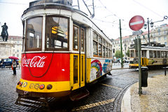 Typical yellow tram , Lisbon, Portugal. Royalty Free Stock Photo