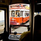Typical yellow tram , Lisbon, Portugal. Stock Photos