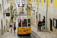 Typical yellow tram , Lisbon, Portugal. Royalty Free Stock Images