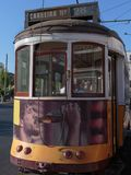 Typical Yellow Vintage Tram in Lisbon, Portugal.  royalty free stock photos
