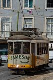 Typical Yellow Vintage Tram in Lisbon, Portugal.  royalty free stock images
