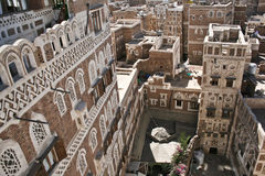 Typical yemeni architecture, Sanaa (Yemen). Sanaa is the capital of Yemen. The old city of Sanaa has a distinctive visual character due its unique architectural Royalty Free Stock Image