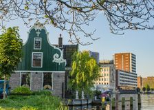 Old and new buildings of Zaandam, Netherlands stock photos
