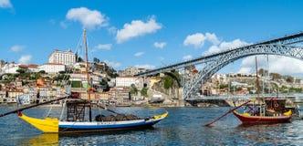 Typicall Rabelo łodzie, portowego wina łodzie na Rio Douro fotografia royalty free