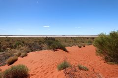 Typical desert vegetation on the background a great salt lake , Outhback Australian. Typicall vegetation in the red centre Royalty Free Stock Photo