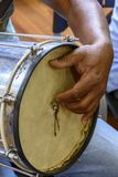Typically Brazilian percussion instrument called Cuica. And used mainly in samba and carnival stock photo