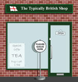 Typically British. Polite queue sign at the Typically British Shop Stock Illustration