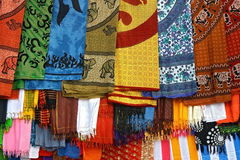 Typically colorfull indian fabrics Royalty Free Stock Photos